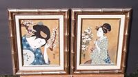 "Japanese Ukiyo-e Style Tempera Paintings, 8"" x 10"", artist signed/seal, exc"