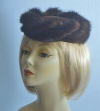 "Vtg 1950 Wm H Block Indianapolis Fur Swirl Beret Hat Velvet Crown 19-1/2"" Small"