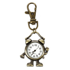 "Retro Bronze Metal Clock Robot Keyring Chain with Clock 1.8"" NEW Y7K6"