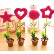 Hot Pink Grass Flower Pot Writing Pen Ball Point Pen Stationery School Gift