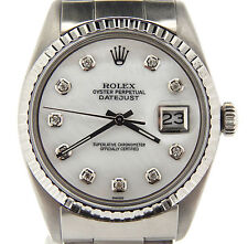 Rolex Datejust Mens Stainless Steel Watch Oyster w/ White MOP Diamond Dial 1603