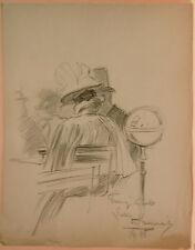 Dessin Original LUBIN DE BEAUVAIS XIXe - Couple de dos - Art Nouveau LB43