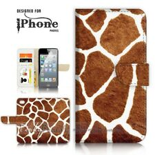 ( For iPhone 5 / 5S ) Wallet Case Cover P21131 Giraffe Pattern
