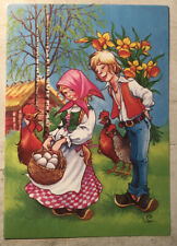 Easter Postcard ~ Boy & Girl collecting eggs posted Sweden 1994 Glad Pask