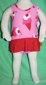 iplay pink ice cream polka dot skirt one piece swim suit bathing diaper NEW