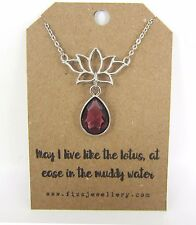 Yoga Lotus Flower Glass Drop Silver Plated Necklace Quote Message Card Yogi Gift