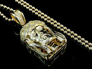 NEW MENS WOMENS 14K YELLOW GOLD FINISH LAB DIAMOND JESUS PENDANT CHARM CHAIN SET
