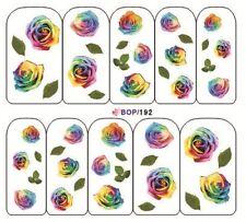 Nail Art de transferencia Pegatinas Calcomanías de agua etiqueta engomada arte Decorativo Flores (BOP192)