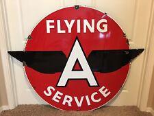 """RARE Original 60"""" Porcelain Flying A Service Sign Black Wings Tydol Veedol"""