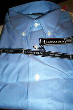 NWT LANESBORO NON IRON  BUTTONDOWN  DRESS SHIRT REGULAR FIT-LT BLUE-16 34/35
