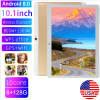 10.1'' Phablet 10.1 Android 8.0 Tablet 128GB Octa Core Dual SIM Camera Wifi Gold