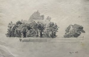 Drawing Pencil Trees And Home on the Shore Sketch prior to The Nature 1925 Dated