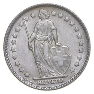 SILVER Roughly Size of Quarter 1962 Switzerland 1 Franc World Silver Coin *082