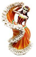 "Dia De Los Muertos Sugar Skull Sunburst Dancer Figurine Day Of The Dead 8""H"