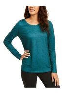Ideology Women Blouse French Terry Long Sleeve Printed Cutout-Back Tee Top Green