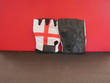 ENGLAND ST GEORGE FINGERLESS GLOVES PALM BLACK LEATHER BACK LYCRA - SIZE SMALL