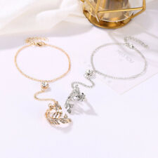 Women Crystal Leaf Bracelet Bangle Finger Ring Harness Hand Chain Jewellery Z