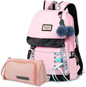 Bevalsa Schulrucksack mit Federmäppchen Schultaschen-Set für Mädchen Teenager