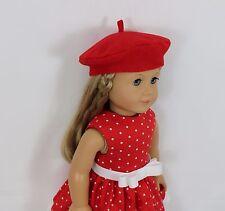 "Dress Beret Paris fits 18"" American Girl doll red white polka dot cloth handmade"