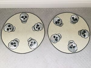 """Halloween Cynthia Rowley Beaded Skulls 15"""" Round Placemats Charger set of 2"""