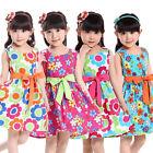 NEUF 3 à 9 ans Filles Vêtements Jupe Tutu Enfants Robe Fleur Impression Nœud