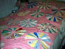 ANTIQUE 1890 HANDMADE QUILT STUFFED WITH SHEEPS WOOL SHEARED BY QUILTS MAKER!