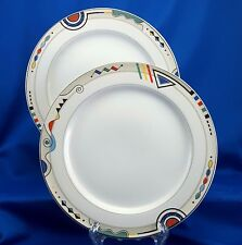 Mikasa Electra Salad Plates Set of 2 HG297 Multi Colored Geometric 8-3/8""