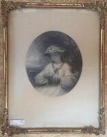 ::J.H. S. MANN RADIERUNG/STICH °THE COUNTRY JUNGE DAME MIT BLÜTE ADEL° DAT. 1864