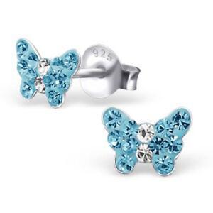 Girls Children 925 Sterling Silver Blue Butterfly Crystal Stud Earrings Pierced