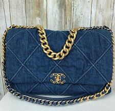 CHANEL 20S Maxi Large 2 Way Denim Quilted Gold Silver CC Logo Chain Flap Bag NEW