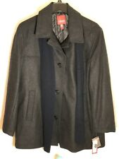 Mens Izod Peacoat Wool Blend Coat And Silk Scarf Style 506 Charcoal Large