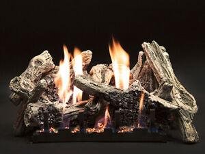 """Empire 18"""" Driftwood Burncrete Logset w/ MV VF/V Slope Glaze Burner - LP"""
