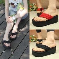 Women Wedge Platform Thong Flip Flops Summer Sandals Black Slippers Casual Shoes