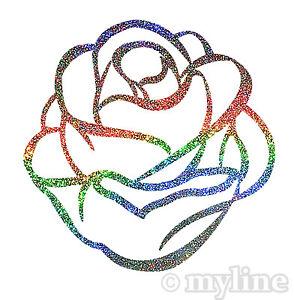 Rose sticker decal Silver Rainbow Sparkle car laptop wall window fridge