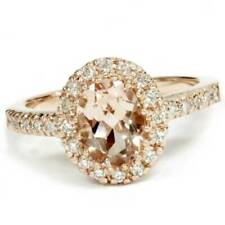 2.00Ct Oval Morganite & Diamond Halo Ring 14K Rose Gold
