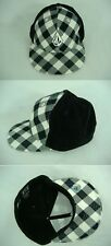 New Mens VOLCOM 7 3/8 Fitted Black Cord Plaid Hat 58.7 cm