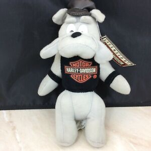 "1993 Harley-Davidson Motorcycle Stuffed Biker Animal Toy With Tags 9"" T Bull Dog"