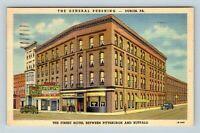 Dubois PA, The General Pershing Hotel, Linen Pennsylvania c1950 Postcard