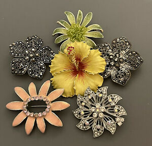 Lot Of 6 Flower Brooches Enamel Rhinestones Orchid Pink Yellow Silver Gold Tone
