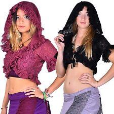 Lace Bolero, Gypsy Crop Top, Lace Hooded Top, Jungle Gypsy Goa Psy Trance, Goth