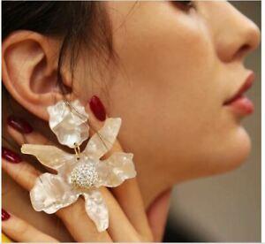 Zara Pearl Clear Crystal Flower Statement Earrings Clip on Earrings Lightweight