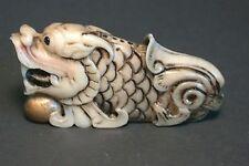 Japanese ivory color bone  netsuke-Flat DRAGON Chases Golden Pearl of Wisdom