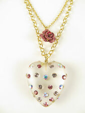 Betsey Johnson Gold Tone Alluring Lucite Heart Rose 2 Layer Pendant Necklace