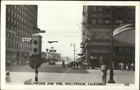 Hollywood CA Hollywood & Vine Street Scene Real Photo Postcard