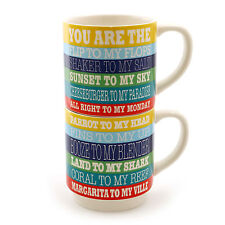 Our Name is Mud Margaritaville Song Lyrics Stacked Mugs Set of 2 ~NEW~