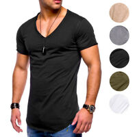 Men T-shirts Casual Short Sleeve Tee V Neck Breathable Solid Tops Loose Summer