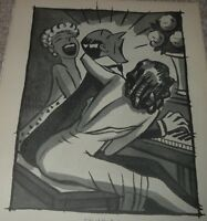 1949 Peter Arno Cartoon Print LIFE OF THE PARTY Playing Piano w/Ladies Humor
