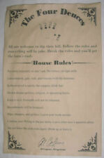 The Four Deuces House Rules Poster 11 X 17 Al Capone Bar Gin Joint Speakeasy