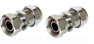 """2 X NEW TAP CONNECTORS - CHROME PLATED  22 mm x 3/4"""" straight Washer included."""