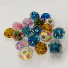 10pcs 14mm Flower Shape Lampwork Glass Charm Loose Beads lot Mixed